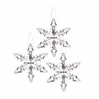 3x kersthanger sneeuwvlok ijsbloem zilver type 2 trend
