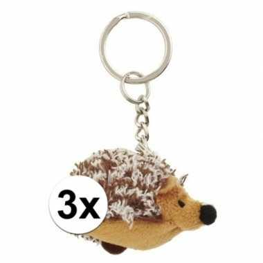 3x kleine egel sleutelhangers 6 cm