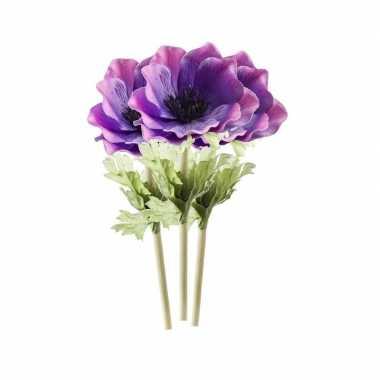 3x kunstbloemen anemoon tak 47 cm paars