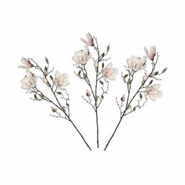 3x licht roze magnolia/beverboom kunsttakken kunstplanten 90 cm