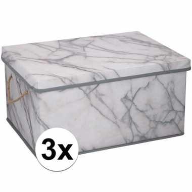 3x opbergboxen / opbergdozen marmer 40 cm 25 liter