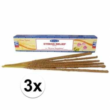 3x pakjes nag champa wierook stokjes anti stress 15 gram