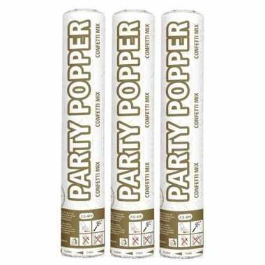 3x party popper goud en zilver 26 cm