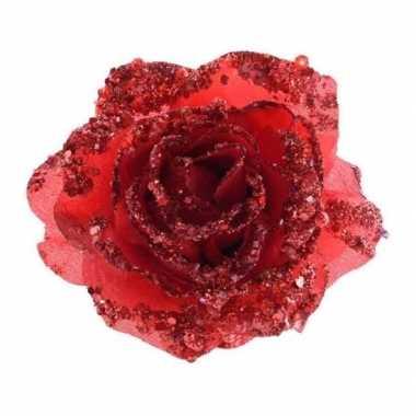 3x rode glitter roos met clip