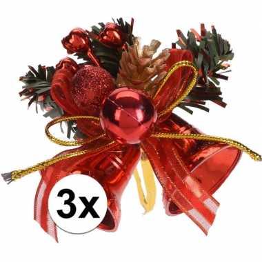 3x rode kerstklokjes/kerststukjes decoraties 8 cm