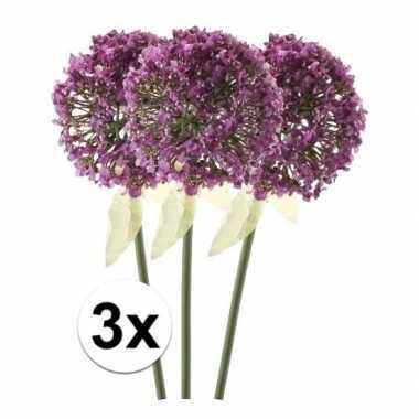 3x roze/paarse sierui kunstbloemen 70 cm