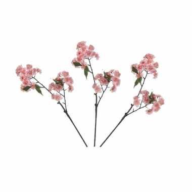 3x roze prunus serrulata/kersenbloesems kunsttakken 60 cm