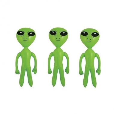 3x stuks opblaasbare groene aliens van 64 cm