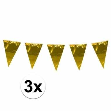 3x stuks xxl vlaggenlijnen goud 10 meter