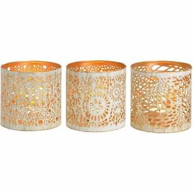 3x theelichthouders/waxinelichthouders windlichten set metaal wit/goud 11 cm