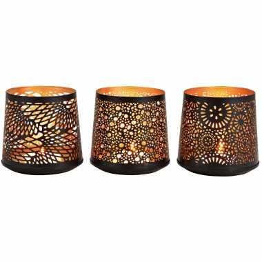 3x theelichthouders/waxinelichthouders windlichten set zwart/goud 13 cm