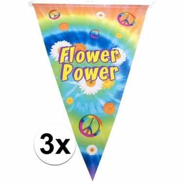 3x vlaggenlijnen flower power hippie feest decoratie 5 meter