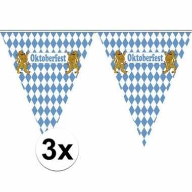 3x vlaggenlijnen oktoberfest van 5 meter
