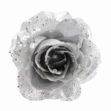 3x zilveren glitter roos met clip