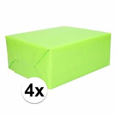 4 rollen kadopapier lime groen 200 x 70 cm op rol