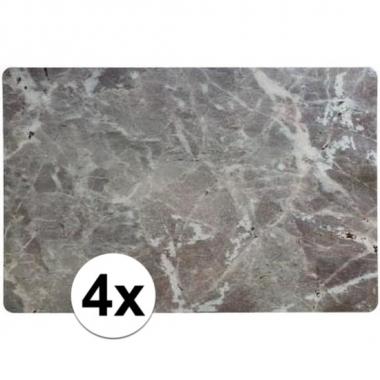 4 x placemat marmer grijs 43 x 28 cm trend