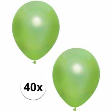 40x lichtgroene metallic ballonnen 30 cm