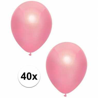 40x roze metallic ballonnen 30 cm