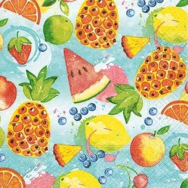 40x tropisch fruit zomer thema servetten 33 x 33 cm
