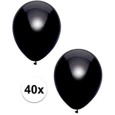 40x zwarte metallic ballonnen 30 cm