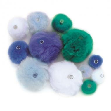 45 knutsel pompons met kunststof ogen blauw/lichtblauw/groen