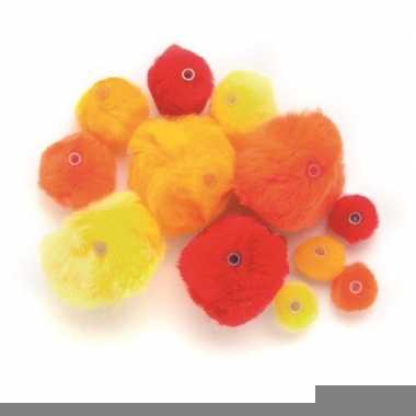 45 knutsel pompons met kunststof ogen rood /oranje/geel