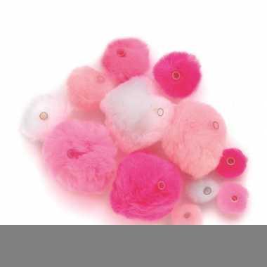 45 knutsel pompons met kunststof ogen roze/lichtroze/wit
