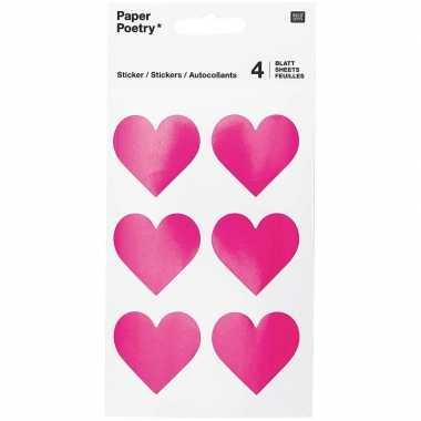 48x fuchsia roze hartjes stickers 4 cm
