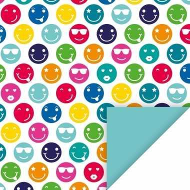 4x geschenkpapier gekleurde smileys thema 70 x 200 cm