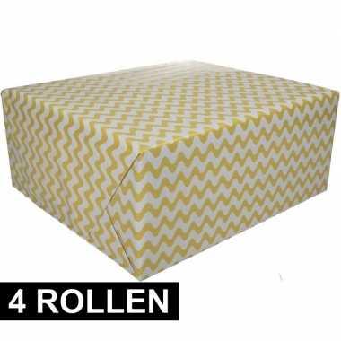 4x inpakpapier grafisch geel 200 x 70 cm op rol