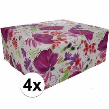 4x inpakpapier met gekleurd motief 200 x 70 cm op rol type 9