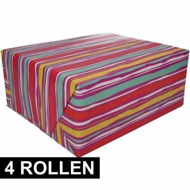 4x inpakpapier met kleurig design 200 x 70 cm op rol type 4