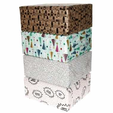 4x inpakpapier rollen voordeelpakket met verschillende prints