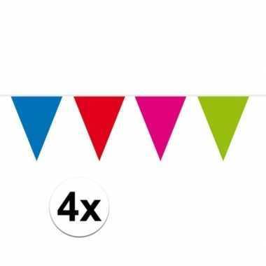 4x meerkleurige vlaggentjes slinger 10 meter trend