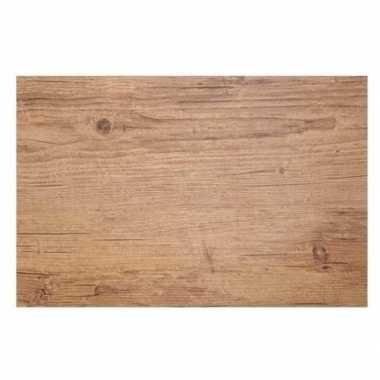4x placemats lichtbruine hout print 45 cm