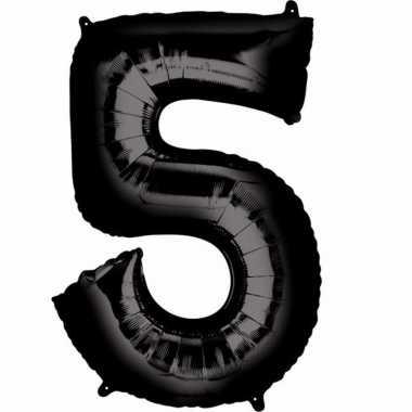 5 jaar versiering cijfer ballon zwart