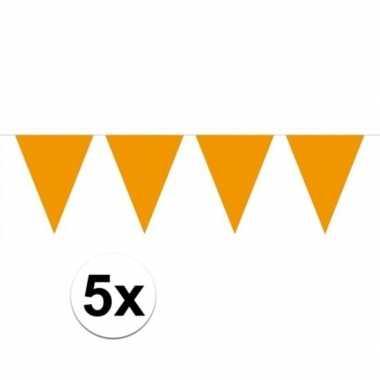 5 stuks oranje vlaggetjes slinger van 10 meter