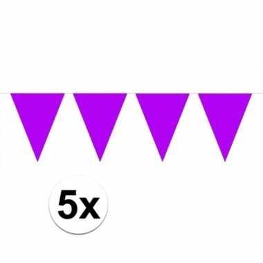 5 stuks paarse vlaggetjes slinger van 10 meter