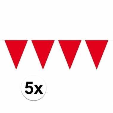 5 stuks rode vlaggetjes slinger van 10 meter