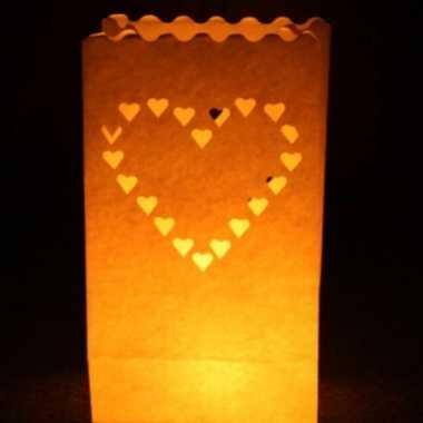 50x candle bags met harten sjabloon