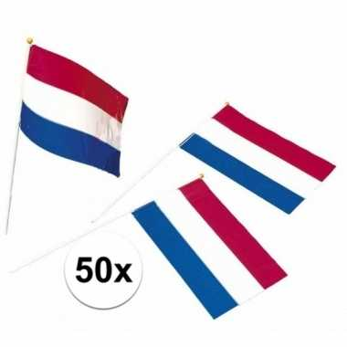 50x holland zwaaivlaggetjes van plastic