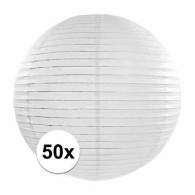 50x lampionnen van 35 cm in het wit
