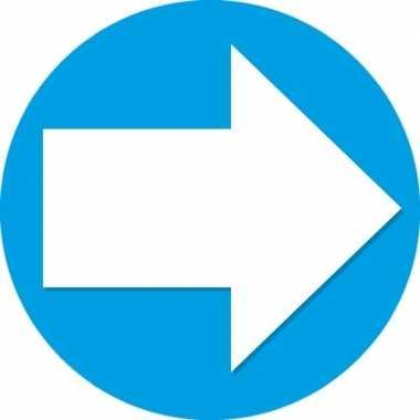 5x accent pijl sticker blauw