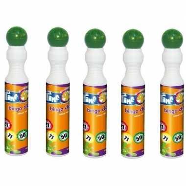 5x groene bingostiften/markers 43 ml