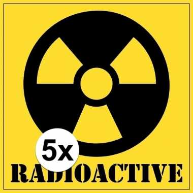 5x halloween decoratie radioactief / radioactive sticker 10,5 cm