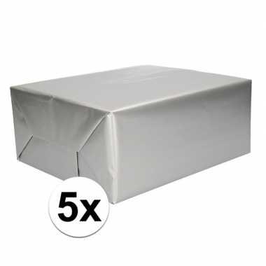 5x inpakpapier/cadeaupapier zilver 200 x 70 cm op rol
