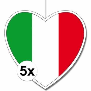 5x italie hangdecoratie harten 28 cm