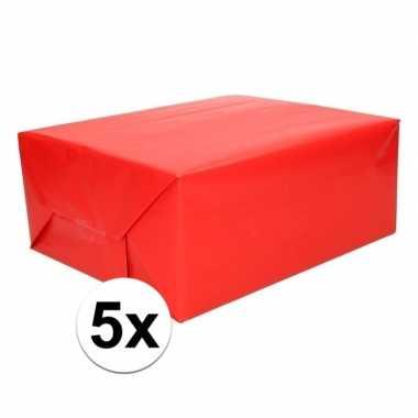 5x kadopapier rood 200 x 70 cm op rol