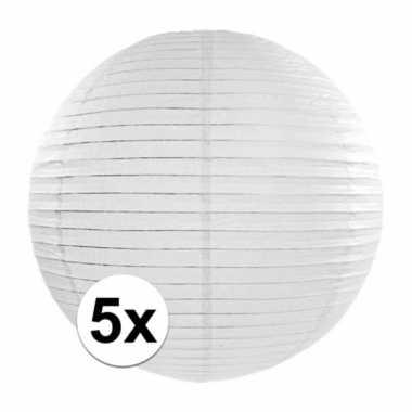 5x lampionnen van 35 cm in het wit