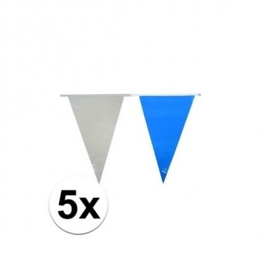 5x plastic vlaggetjes in het lichtblauw/wit